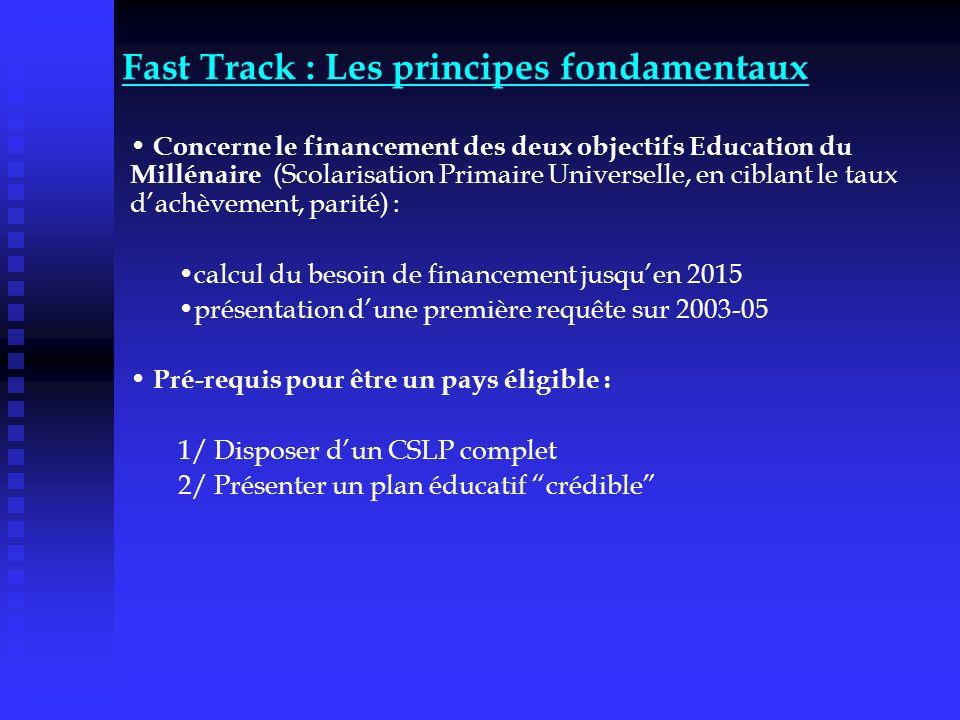 Fast Track : Les principes fondamentaux Concerne le financement des deux objectifs Education du Millénaire (Scolarisation Primaire Universelle, en cib