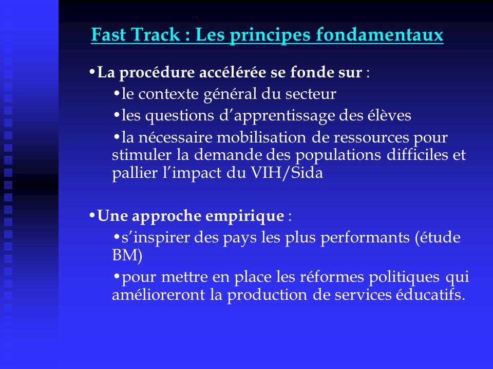 Fast Track : Les principes fondamentaux La procédure accélérée se fonde sur : le contexte général du secteur les questions dapprentissage des élèves l