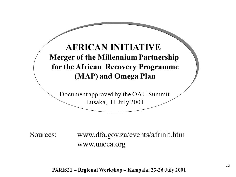 13 PARIS21 – Regional Workshop – Kampala, 23-26 July 2001 AFRICAN INITIATIVE Merger of the Millennium Partnership for the African Recovery Programme (MAP) and Omega Plan Document approved by the OAU Summit Lusaka, 11 July 2001 AFRICAN INITIATIVE Merger of the Millennium Partnership for the African Recovery Programme (MAP) and Omega Plan Document approved by the OAU Summit Lusaka, 11 July 2001 Sources: www.dfa.gov.za/events/afrinit.htm www.uneca.org