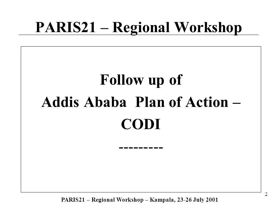 23 PARIS21 – Regional Workshop – Kampala, 23-26 July 2001 New challenges 1.Some new Challenges : 3rd strategic direction –Statistics on savings; –Statistics on public investments; –Statistics on direct foreign investment; –Etc.