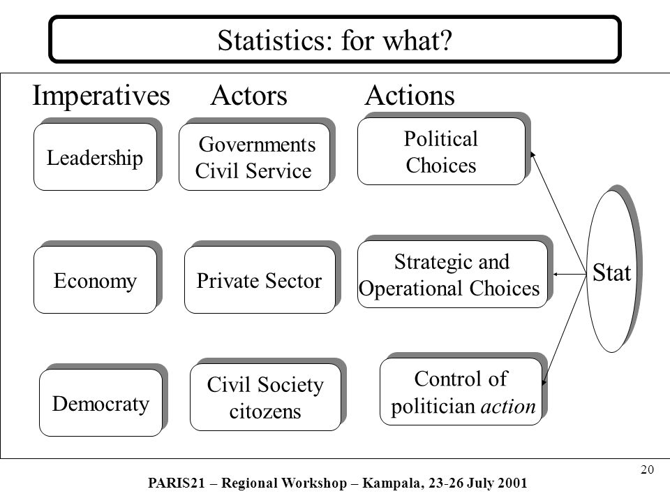 20 PARIS21 – Regional Workshop – Kampala, 23-26 July 2001 Statistics: for what.
