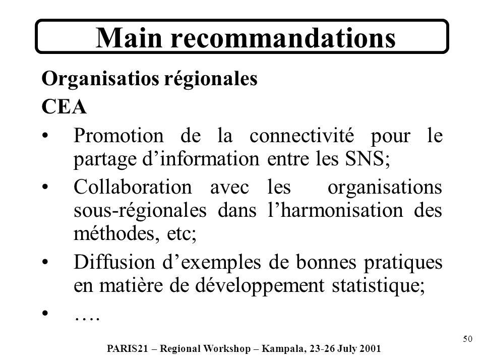 50 PARIS21 – Regional Workshop – Kampala, 23-26 July 2001 Organisatios régionales CEA Promotion de la connectivité pour le partage dinformation entre les SNS; Collaboration avec les organisations sous-régionales dans lharmonisation des méthodes, etc; Diffusion dexemples de bonnes pratiques en matière de développement statistique; ….