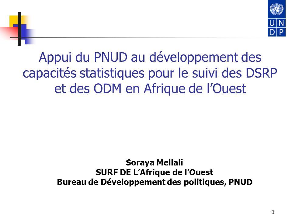 1 Appui du PNUD au développement des capacités statistiques pour le suivi des DSRP et des ODM en Afrique de lOuest Soraya Mellali SURF DE LAfrique de