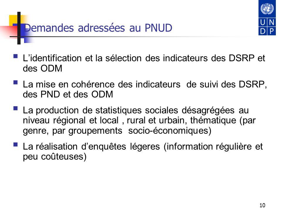 10 Demandes adressées au PNUD Lidentification et la sélection des indicateurs des DSRP et des ODM La mise en cohérence des indicateurs de suivi des DS