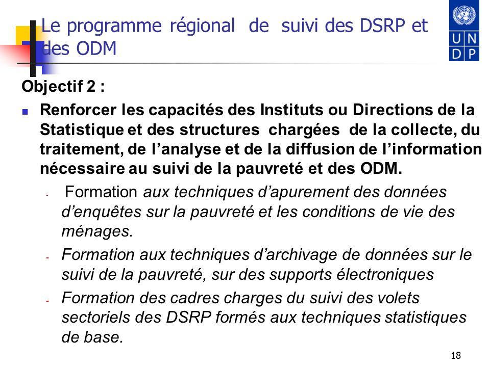 18 Le programme régional de suivi des DSRP et des ODM Objectif 2 : Renforcer les capacités des Instituts ou Directions de la Statistique et des struct