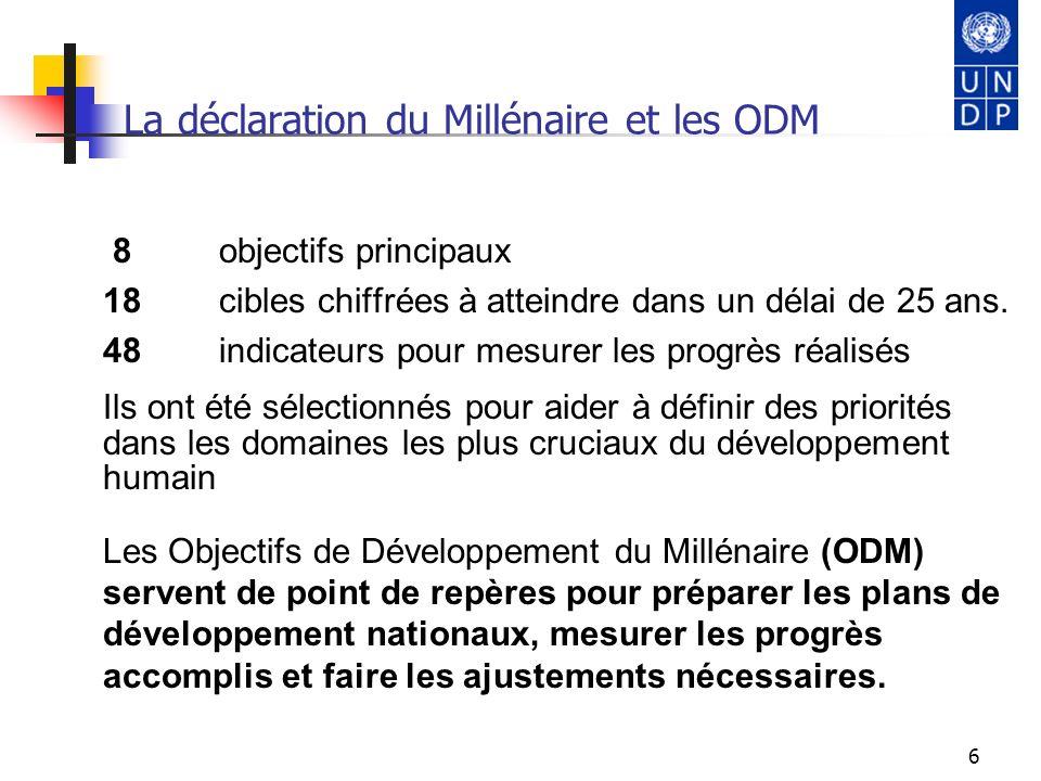6 La déclaration du Millénaire et les ODM 8 objectifs principaux 18 cibles chiffrées à atteindre dans un délai de 25 ans. 48 indicateurs pour mesurer