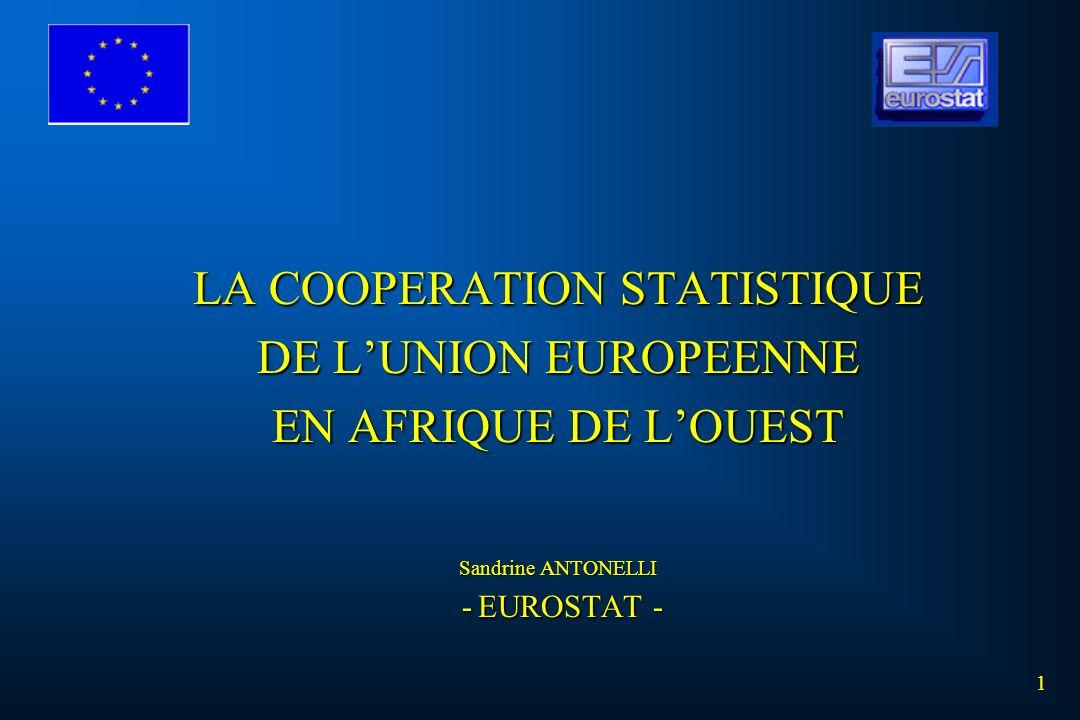 LA COOPERATION STATISTIQUE DE LUNION EUROPEENNE EN AFRIQUE DE LOUEST Sandrine ANTONELLI - EUROSTAT - 1