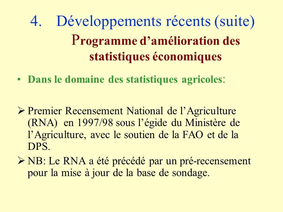 4.Développements récents (suite) P rogramme damélioration des statistiques économiques Dans le domaine des statistiques agricoles : Premier Recensement National de lAgriculture (RNA) en 1997/98 sous légide du Ministère de lAgriculture, avec le soutien de la FAO et de la DPS.