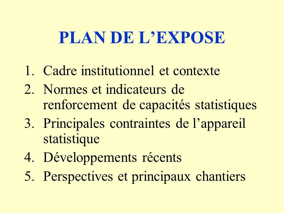 4.Développements récents (suite) P rogramme damélioration des statistiques économiques Dans le domaine des comptes nationaux: révision des comptes nationaux; implantation du module ERETES avec changement de lannée de base de 1987 à 1999; mise en place dune base de donnée étendue