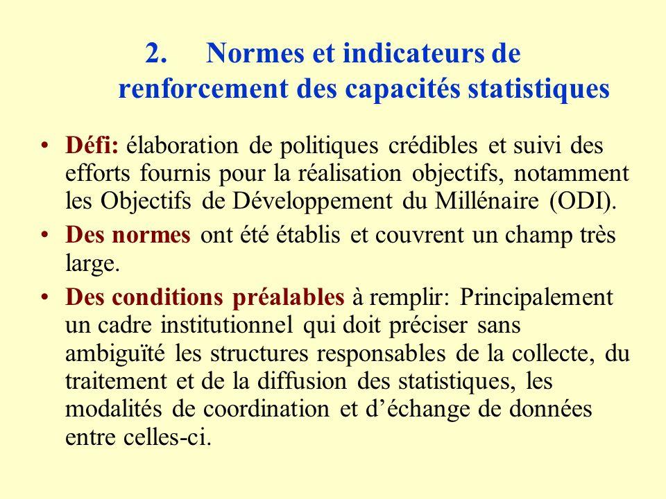 4.Développements récents (suite) Enquêtes démographiques et sur les conditions de vie Enquêtes démographiques et socioéconomiques: Plus récemment: Enquêtes Sénégalaises Auprès des Ménages (ESAM) en 1994 puis en 2001/2002: mise à jour structure des revenus et dépenses des ménages et profil de pauvreté; Enquête sur les dépenses des Ménages de la Capitale (EDMC), 1996) pour déterminer les coefficients de pondération de lIHPC; Enquête Sénégalaise sur les Indicateurs de Santé (ESIS) menée par le Ministère de la Santé;