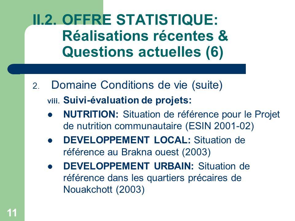 11 II.2.OFFRE STATISTIQUE: Réalisations récentes & Questions actuelles (6) 2.