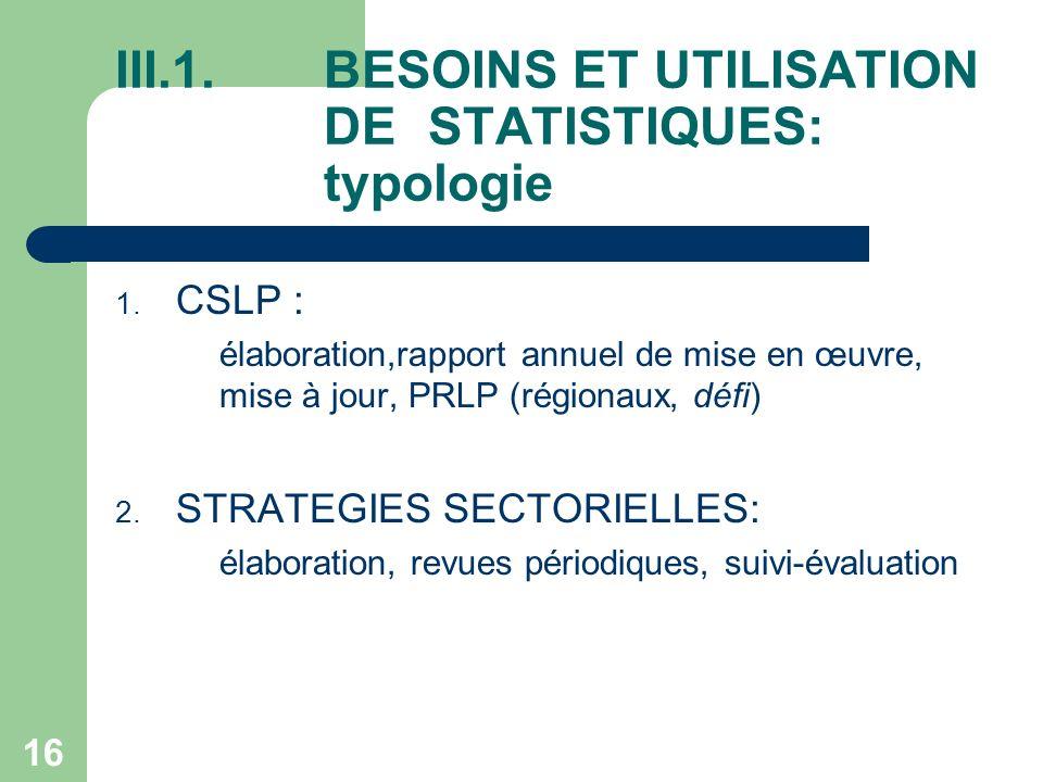 16 III.1.BESOINS ET UTILISATION DE STATISTIQUES: typologie 1.