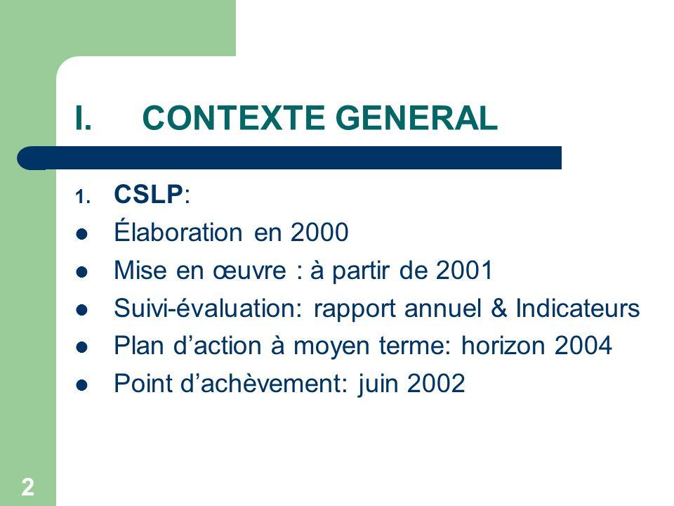 3 I.CONTEXTE GENERAL (suite) 2.