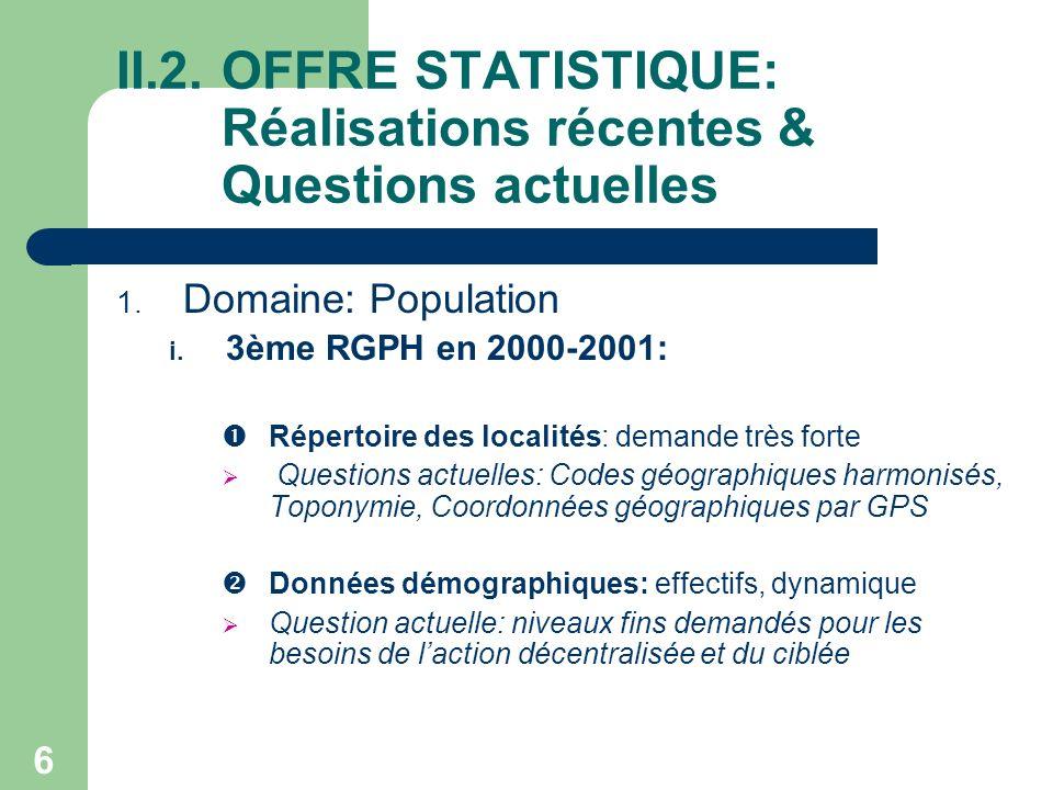 6 II.2.OFFRE STATISTIQUE: Réalisations récentes & Questions actuelles 1.