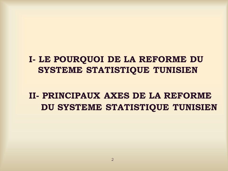 I- LE POURQUOI DE LA REFORME DU SYSTEME STATISTIQUE TUNISIEN I-1 RAISONS LIEES AUX LACUNES ENREGISTREES AU NIVEAU DU SYSTEME STATISTIQUE A LA VEILLE DE LA REFORME I-2 RAISONS LIEES AUX MUTATIONS ECONOMIQUES NATIONALES ET INTERNATIONALES ET A LEMERGENCE DE NOUVEAUX TYPES DE BESOINS I-3 RAISONS LIEES AU DEVELOPPEMENT RAPIDE DES NOUVELLES TECHNOLOGIES DE L INFORMATION ET DE LA COMMUNICATION (N.T.I.C) 3