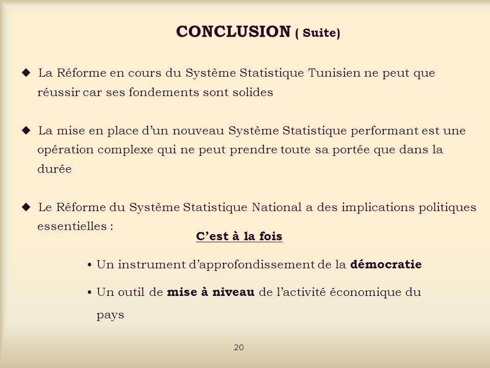 CONCLUSION ( Suite) La Réforme en cours du Système Statistique Tunisien ne peut que réussir car ses fondements sont solides La mise en place dun nouveau Système Statistique performant est une opération complexe qui ne peut prendre toute sa portée que dans la durée Le Réforme du Système Statistique National a des implications politiques essentielles : Cest à la fois Un instrument dapprofondissement de la démocratie Un outil de mise à niveau de lactivité économique du pays 20