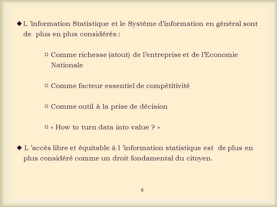 L information Statistique et le Système dinformation en général sont de plus en plus considérés : ¤ Comme richesse (atout) de lentreprise et de lEconomie Nationale ¤ Comme facteur essentiel de compétitivité ¤ Comme outil à la prise de décision ¤ « How to turn data into value .