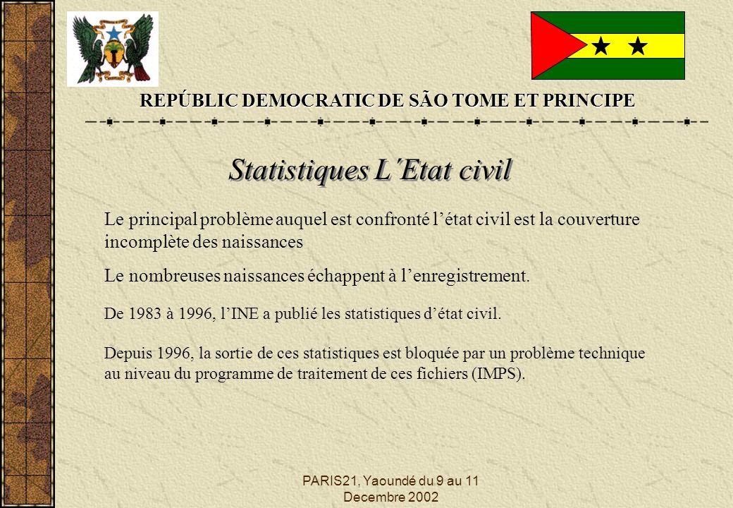 PARIS21, Yaoundé du 9 au 11 Decembre 2002 REPÚBLIC DEMOCRATIC DE SÃO TOME ET PRINCIPE Statistiques L´Etat civil Le principal problème auquel est confronté létat civil est la couverture incomplète des naissances Le nombreuses naissances échappent à lenregistrement.
