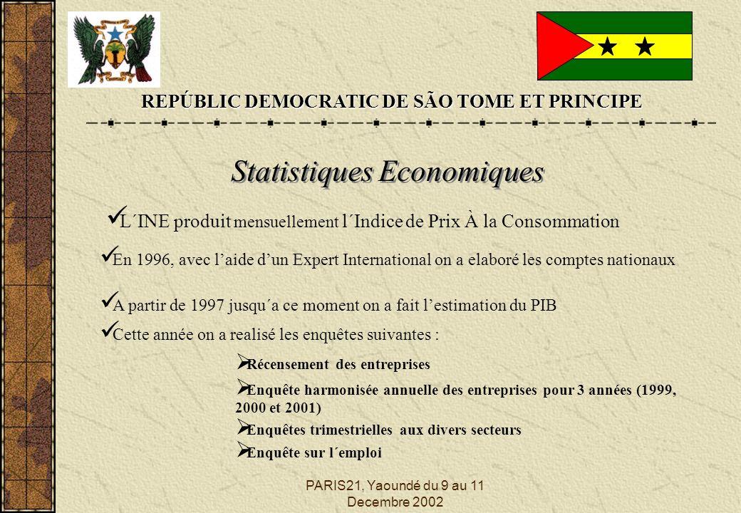 PARIS21, Yaoundé du 9 au 11 Decembre 2002 REPÚBLIC DEMOCRATIC DE SÃO TOME ET PRINCIPE Statistiques Economiques L´INE produit mensuellement l´Indice de Prix À la Consommation En 1996, avec laide dun Expert International on a elaboré les comptes nationaux A partir de 1997 jusqu´a ce moment on a fait lestimation du PIB Cette année on a realisé les enquêtes suivantes : Récensement des entreprises Enquêtes trimestrielles aux divers secteurs Enquête sur l´emploi Enquête harmonisée annuelle des entreprises pour 3 années (1999, 2000 et 2001)