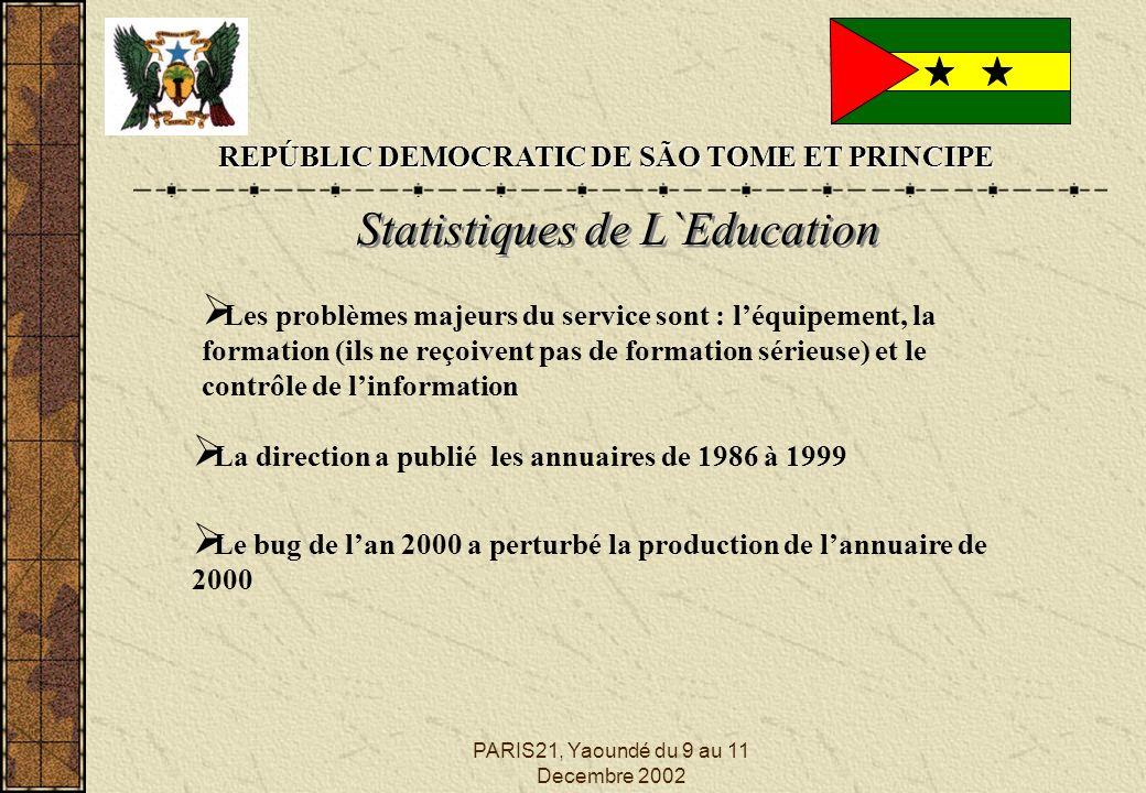 PARIS21, Yaoundé du 9 au 11 Decembre 2002 REPÚBLIC DEMOCRATIC DE SÃO TOME ET PRINCIPE Statistiques de L`Education Les problèmes majeurs du service sont : léquipement, la formation (ils ne reçoivent pas de formation sérieuse) et le contrôle de linformation La direction a publié les annuaires de 1986 à 1999 Le bug de lan 2000 a perturbé la production de lannuaire de 2000
