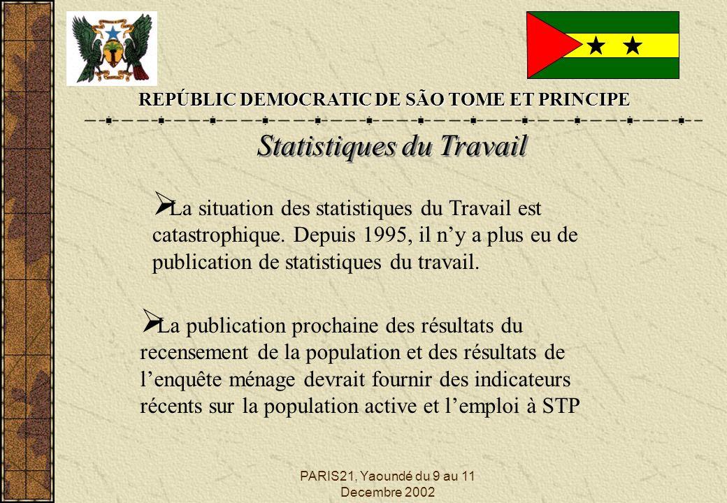 PARIS21, Yaoundé du 9 au 11 Decembre 2002 REPÚBLIC DEMOCRATIC DE SÃO TOME ET PRINCIPE Statistiques du Travail La publication prochaine des résultats du recensement de la population et des résultats de lenquête ménage devrait fournir des indicateurs récents sur la population active et lemploi à STP La situation des statistiques du Travail est catastrophique.