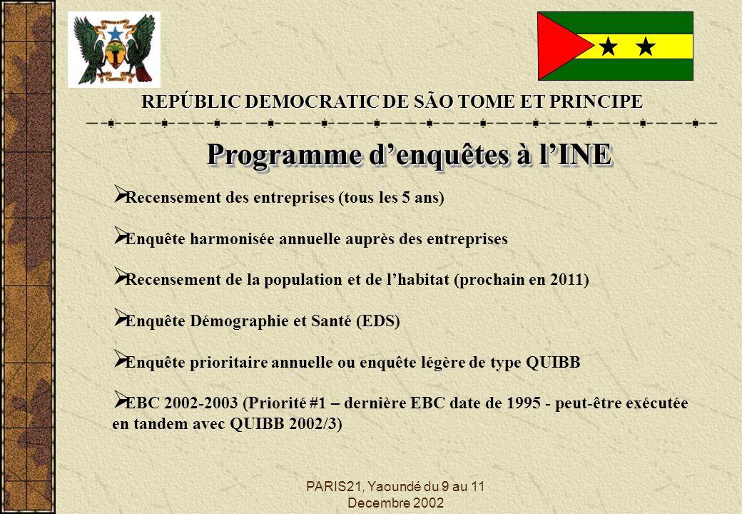 PARIS21, Yaoundé du 9 au 11 Decembre 2002 REPÚBLIC DEMOCRATIC DE SÃO TOME ET PRINCIPE Programme denquêtes à lINE Programme denquêtes à lINE Recensement des entreprises (tous les 5 ans) Enquête harmonisée annuelle auprès des entreprises Recensement de la population et de lhabitat (prochain en 2011) Enquête Démographie et Santé (EDS) Enquête prioritaire annuelle ou enquête légère de type QUIBB EBC 2002-2003 (Priorité #1 – dernière EBC date de 1995 - peut-être exécutée en tandem avec QUIBB 2002/3)