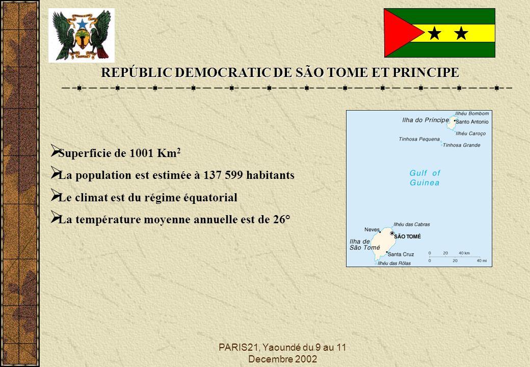 PARIS21, Yaoundé du 9 au 11 Decembre 2002 REPÚBLIC DEMOCRATIC DE SÃO TOME ET PRINCIPE Superficie de 1001 Km 2 La population est estimée à 137 599 habitants Le climat est du régime équatorial La température moyenne annuelle est de 26°
