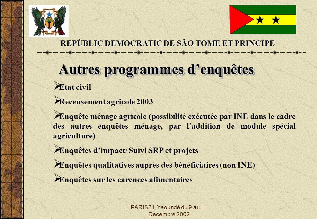 PARIS21, Yaoundé du 9 au 11 Decembre 2002 REPÚBLIC DEMOCRATIC DE SÃO TOME ET PRINCIPE Autres programmes denquêtes Etat civil Recensement agricole 2003
