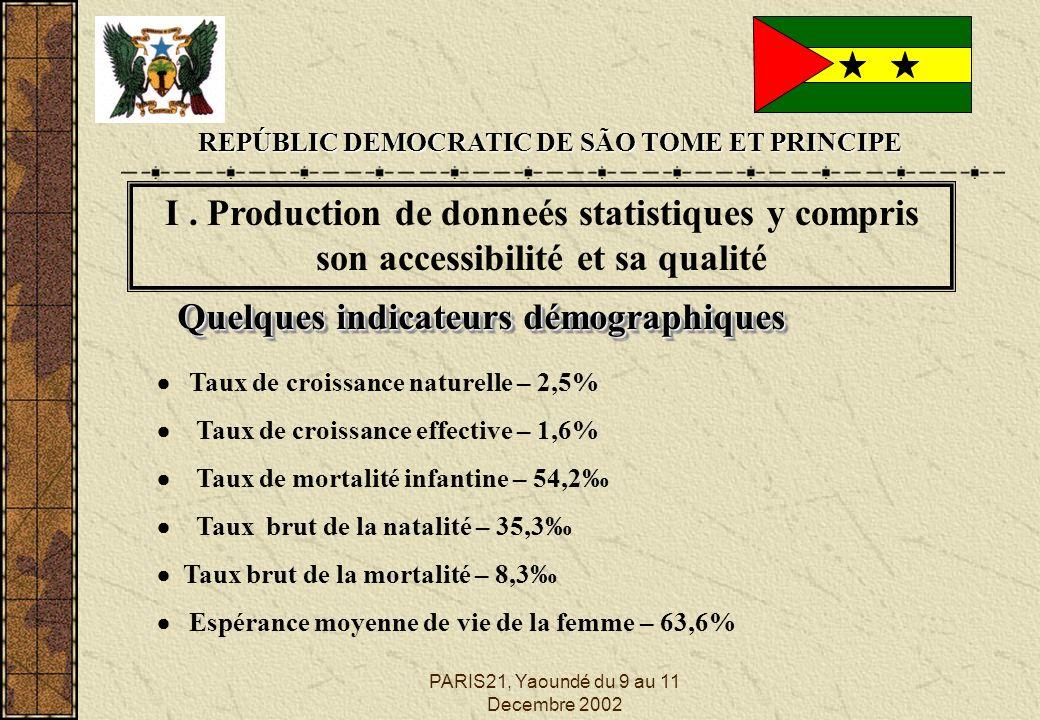 PARIS21, Yaoundé du 9 au 11 Decembre 2002 Quelques indicateurs démographiques Taux de croissance naturelle – 2,5% Taux de croissance effective – 1,6% Taux de mortalité infantine – 54,2 Taux brut de la natalité – 35,3 Taux brut de la mortalité – 8,3 Espérance moyenne de vie de la femme – 63,6% REPÚBLIC DEMOCRATIC DE SÃO TOME ET PRINCIPE I.