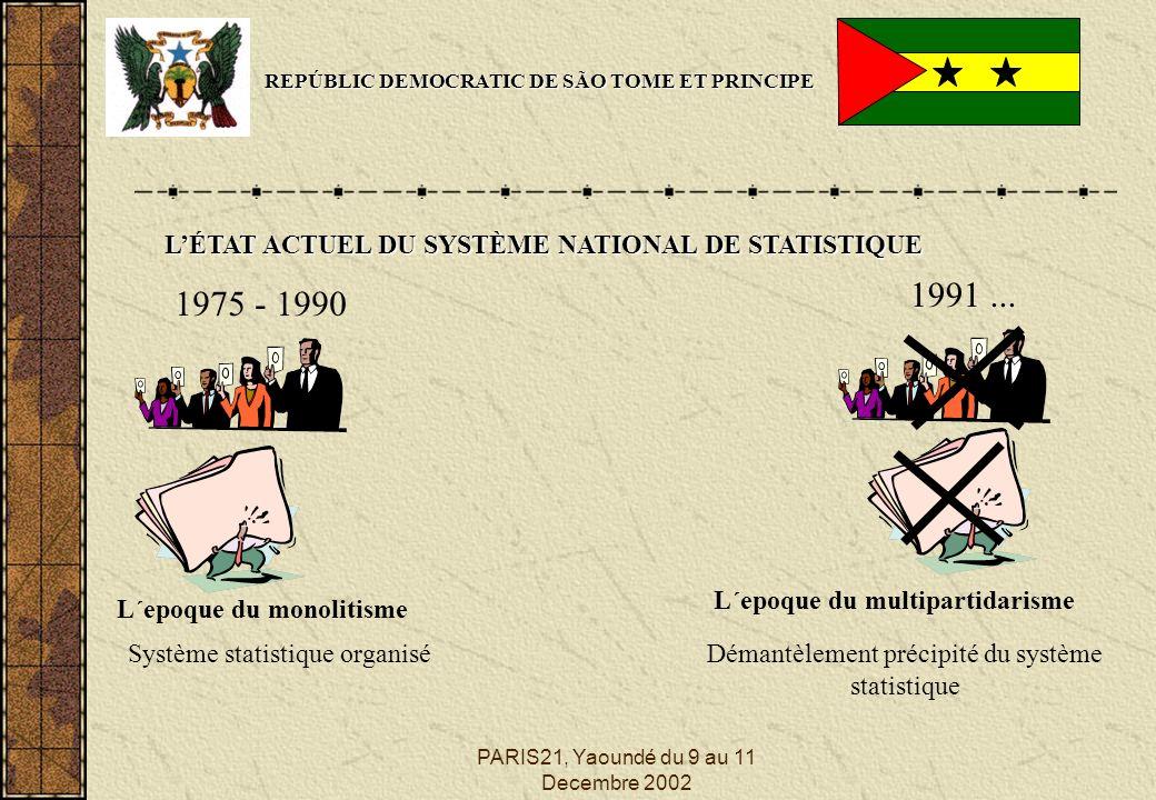 PARIS21, Yaoundé du 9 au 11 Decembre 2002 REPÚBLIC DEMOCRATIC DE SÃO TOME ET PRINCIPE LÉTAT ACTUEL DU SYSTÈME NATIONAL DE STATISTIQUE 1975 - 1990 L´epoque du monolitisme 1991...