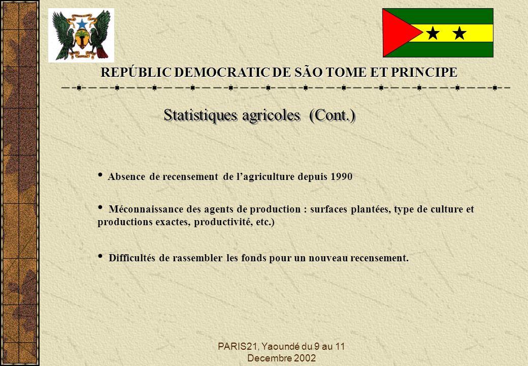 PARIS21, Yaoundé du 9 au 11 Decembre 2002 REPÚBLIC DEMOCRATIC DE SÃO TOME ET PRINCIPE Statistiques agricoles (Cont.) Absence de recensement de lagriculture depuis 1990 Méconnaissance des agents de production : surfaces plantées, type de culture et productions exactes, productivité, etc.) Difficultés de rassembler les fonds pour un nouveau recensement.