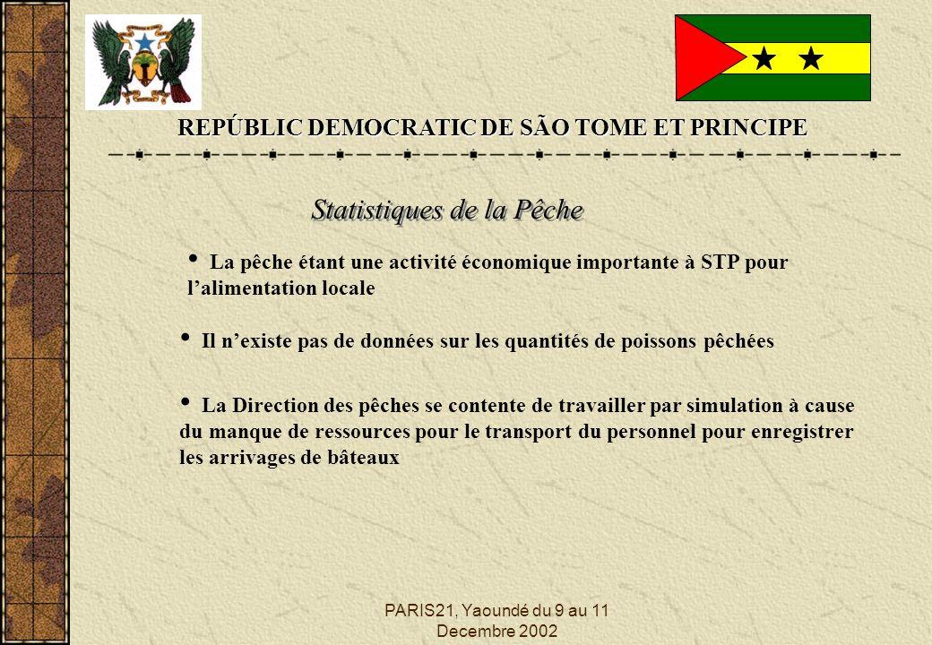 PARIS21, Yaoundé du 9 au 11 Decembre 2002 REPÚBLIC DEMOCRATIC DE SÃO TOME ET PRINCIPE Statistiques de la Pêche La pêche étant une activité économique
