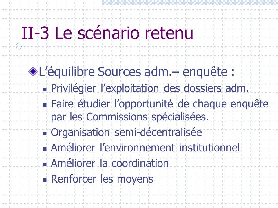 II-3 Le scénario retenu Léquilibre Sources adm.– enquête : Privilégier lexploitation des dossiers adm.