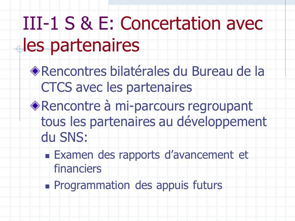 III-1 S & E: Concertation avec les partenaires Rencontres bilatérales du Bureau de la CTCS avec les partenaires Rencontre à mi-parcours regroupant tous les partenaires au développement du SNS: Examen des rapports davancement et financiers Programmation des appuis futurs