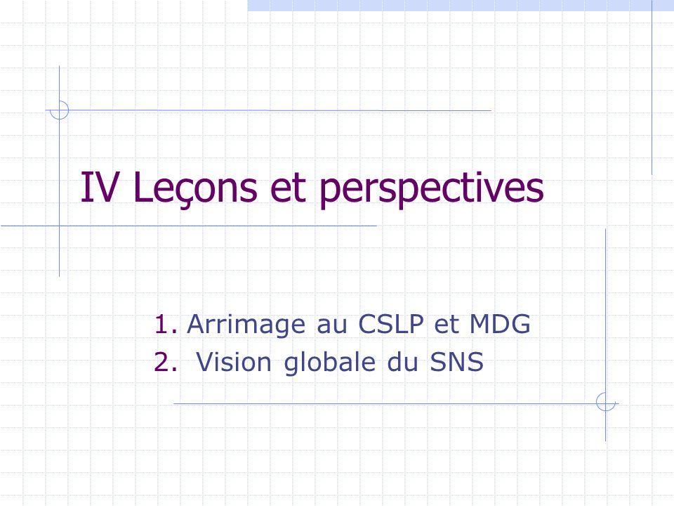 IV Leçons et perspectives 1.Arrimage au CSLP et MDG 2. Vision globale du SNS