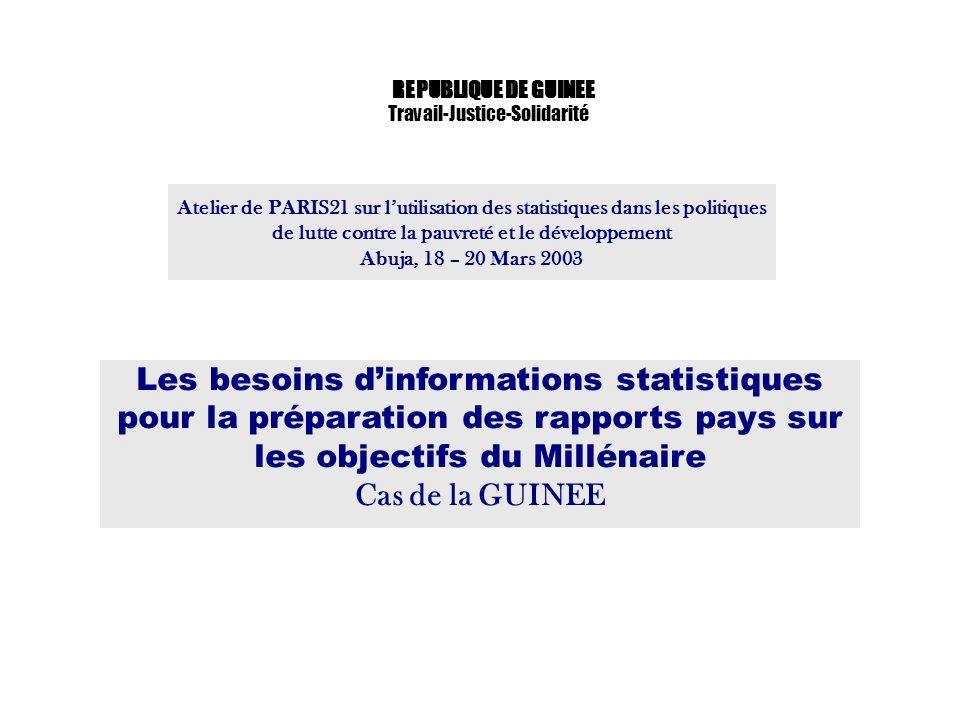 Atelier de PARIS21 sur lutilisation des statistiques dans les politiques de lutte contre la pauvreté et le développement Abuja, 18 – 20 Mars 2003 REPU