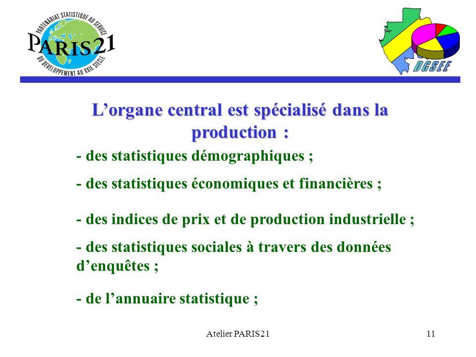 Atelier PARIS2111 Lorgane central est spécialisé dans la production : - des statistiques démographiques ; - des statistiques économiques et financières ; - des indices de prix et de production industrielle ; - des statistiques sociales à travers des données denquêtes ; - de lannuaire statistique ;
