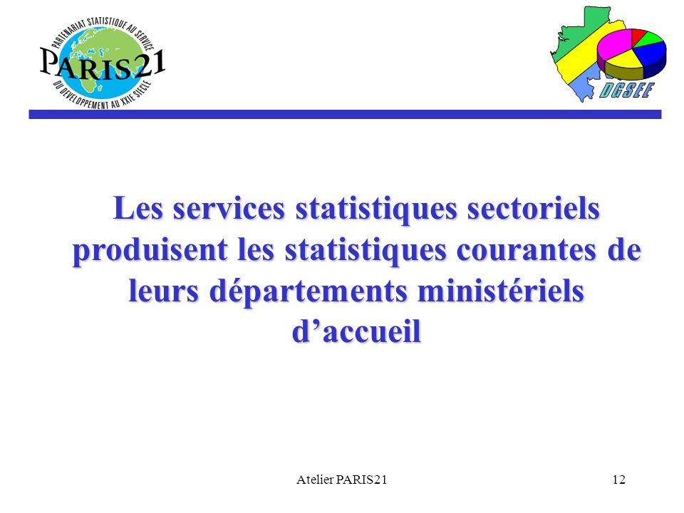 Atelier PARIS2112 Les services statistiques sectoriels produisent les statistiques courantes de leurs départements ministériels daccueil