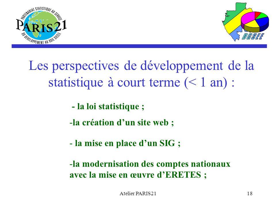 Atelier PARIS2118 Les perspectives de développement de la statistique à court terme (< 1 an) : - la loi statistique ; -la création dun site web ; - la mise en place dun SIG ; -la modernisation des comptes nationaux avec la mise en œuvre dERETES ;