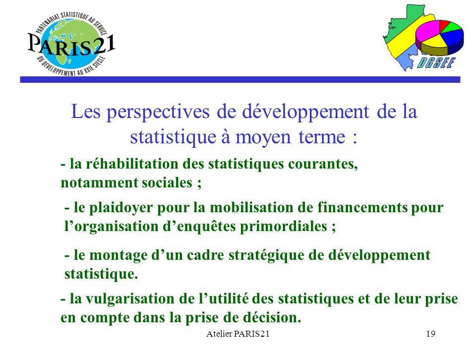 Atelier PARIS2119 Les perspectives de développement de la statistique à moyen terme : - la réhabilitation des statistiques courantes, notamment sociales ; - le plaidoyer pour la mobilisation de financements pour lorganisation denquêtes primordiales ; - le montage dun cadre stratégique de développement statistique.