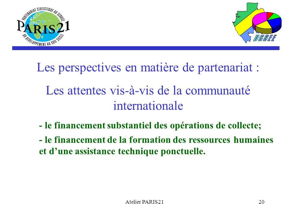 Atelier PARIS2120 Les perspectives en matière de partenariat : Les attentes vis-à-vis de la communauté internationale - le financement substantiel des opérations de collecte; - le financement de la formation des ressources humaines et dune assistance technique ponctuelle.