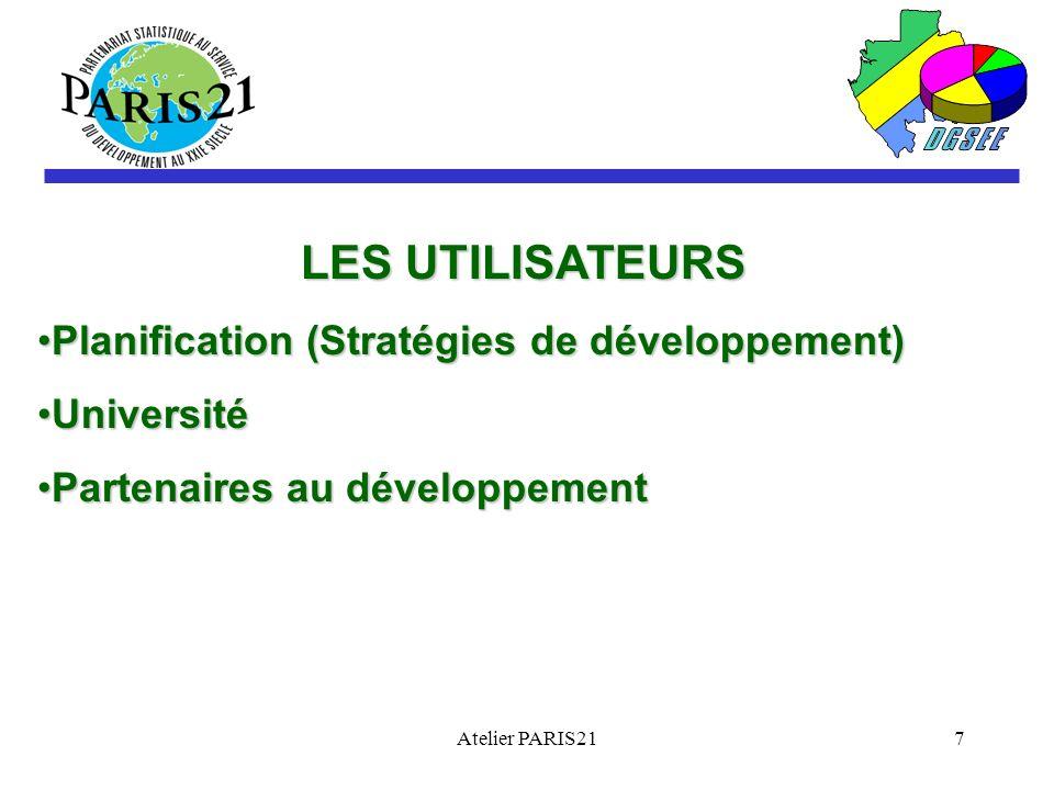 Atelier PARIS217 LES UTILISATEURS Planification (Stratégies de développement)Planification (Stratégies de développement) UniversitéUniversité Partenaires au développementPartenaires au développement