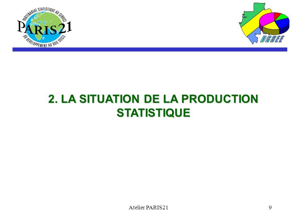 Atelier PARIS219 2. LA SITUATION DE LA PRODUCTION STATISTIQUE