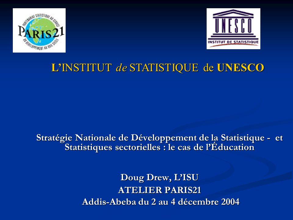 Stratégie Nationale de Développement de la Statistique - et Statistiques sectorielles : le cas de lÉducation Doug Drew, LISU ATELIER PARIS21 Addis-Abeba du 2 au 4 décembre 2004 Addis-Abeba du 2 au 4 décembre 2004 LINSTITUT de STATISTIQUE de UNESCO LINSTITUT de STATISTIQUE de UNESCO