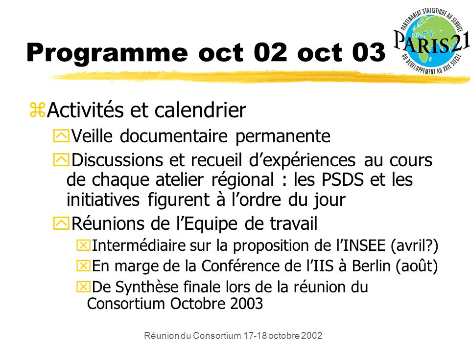 Réunion du Consortium 17-18 octobre 2002 Programme oct 02 oct 03 zActivités et calendrier yVeille documentaire permanente yDiscussions et recueil dexpériences au cours de chaque atelier régional : les PSDS et les initiatives figurent à lordre du jour yRéunions de lEquipe de travail xIntermédiaire sur la proposition de lINSEE (avril ) xEn marge de la Conférence de lIIS à Berlin (août) xDe Synthèse finale lors de la réunion du Consortium Octobre 2003