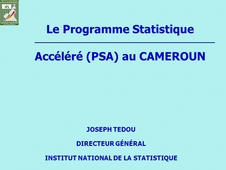 Le Programme Statistique Accéléré (PSA) au CAMEROUN JOSEPH TEDOU DIRECTEUR GÉNÉRAL INSTITUT NATIONAL DE LA STATISTIQUE