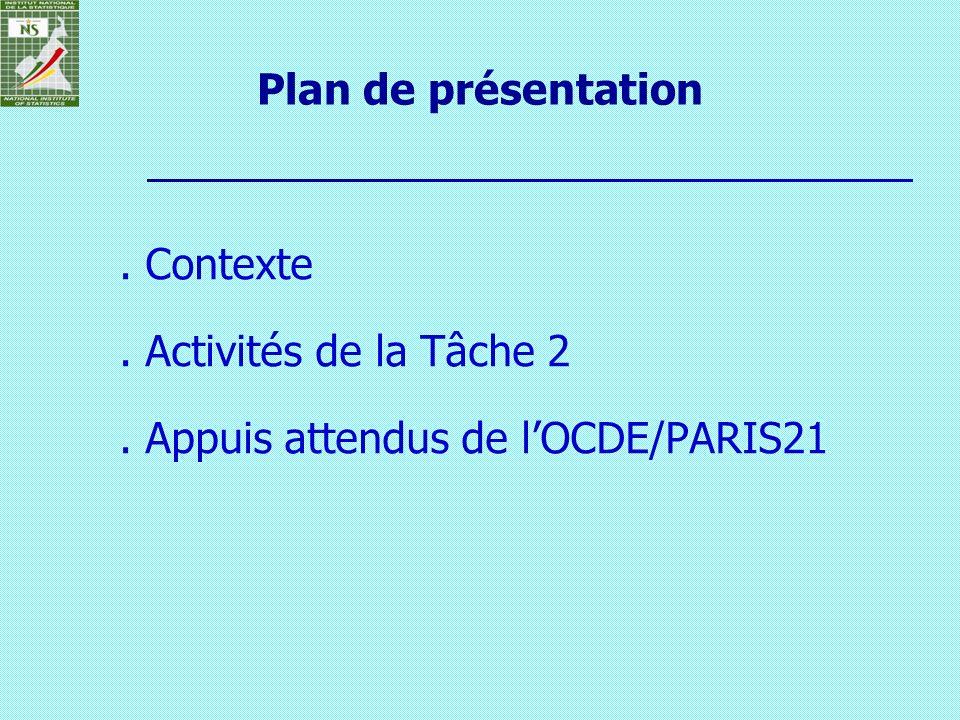 Plan de présentation. Contexte. Activités de la Tâche 2. Appuis attendus de lOCDE/PARIS21