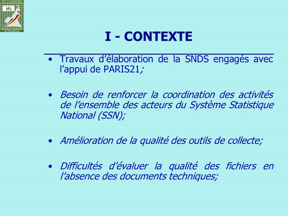 Travaux délaboration de la SNDS engagés avec lappui de PARIS21; Besoin de renforcer la coordination des activités de lensemble des acteurs du Système