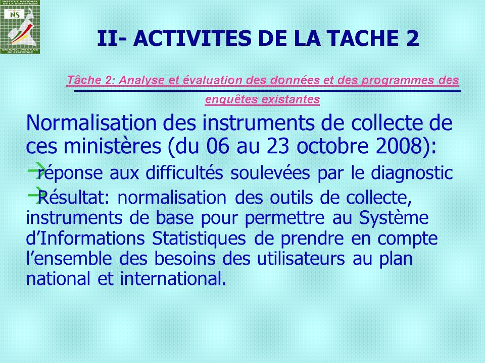 Normalisation des instruments de collecte de ces ministères (du 06 au 23 octobre 2008): réponse aux difficultés soulevées par le diagnostic Résultat: