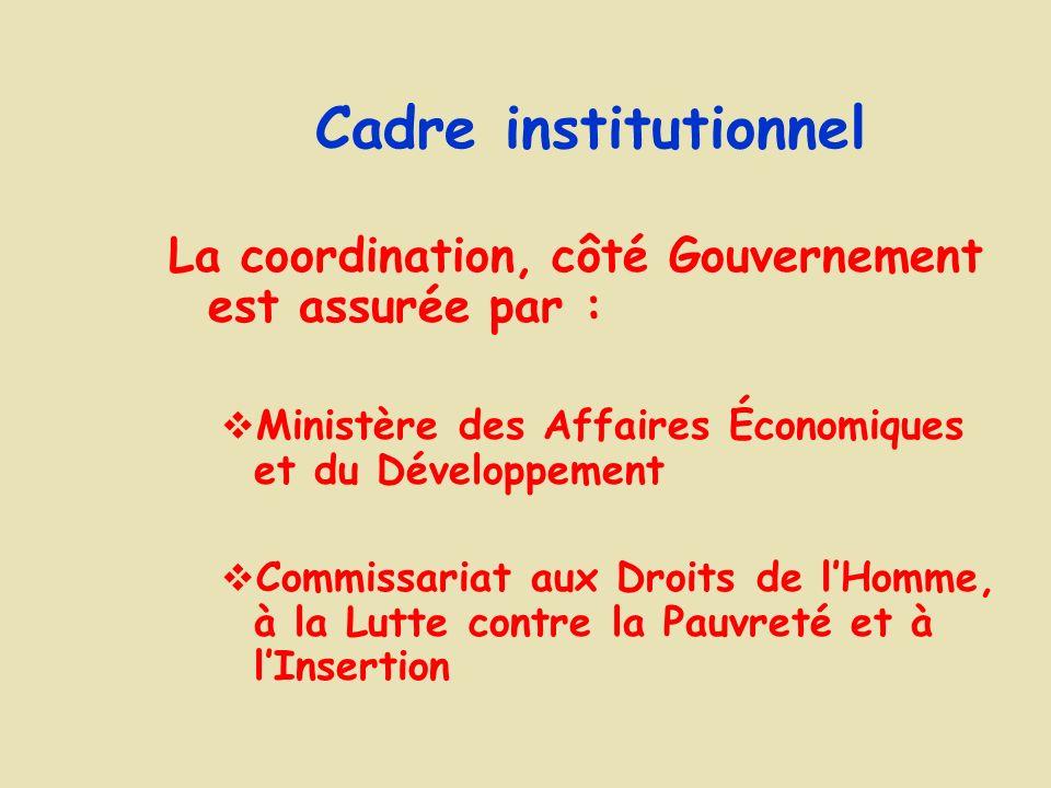 Cadre institutionnel La coordination, côté Gouvernement est assurée par : Ministère des Affaires Économiques et du Développement Commissariat aux Droits de lHomme, à la Lutte contre la Pauvreté et à lInsertion